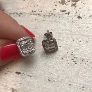 Jewelry - Diamond earrings genuine silver excellent